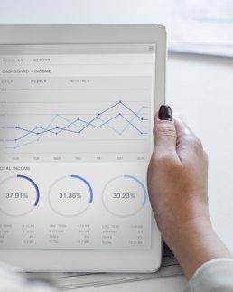 Grafici Statistici su tablet utilizzato da mano di donna