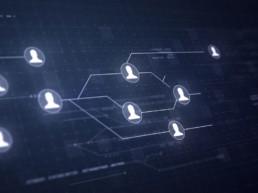 Diagramma di relazione tra utenti in stile high-tech con sfondo scuro