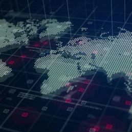 Planisfero digitale in stile high-tech formato da punti con sfondo scuro